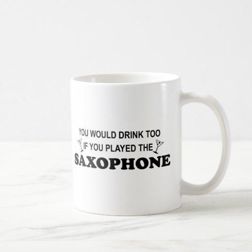 De la bebida saxofón también - taza básica blanca