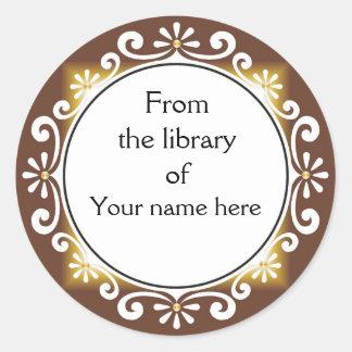 De la biblioteca de los Bookplates - remolinos del Pegatina Redonda