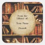 De la biblioteca de… pegatinas cuadradas personalizadas