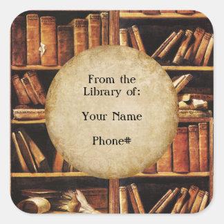 De la biblioteca de… pegatina cuadrada