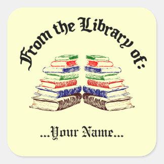 De la biblioteca del Bookplate del personalizado Pegatina Cuadrada