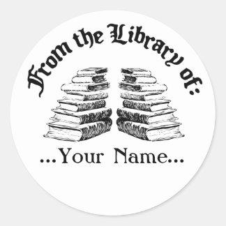 De la biblioteca del Bookplate del personalizado Pegatina Redonda