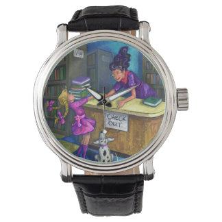 De la biblioteca del control ilustraciones hacia reloj