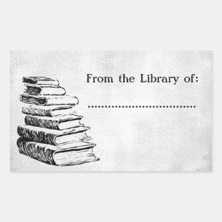 De la biblioteca del falso Bookplate del Pegatina Rectangular