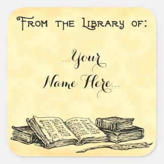 De la biblioteca del vintage reserva Bookplate de Pegatina Cuadrada
