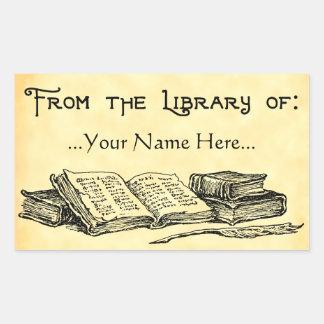 De la biblioteca del vintage reserva Bookplate de Pegatina Rectangular