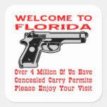 Dé la bienvenida a la Florida que 4 millones de Pegatina Cuadradas
