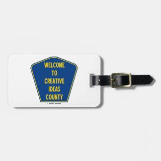 Dé la bienvenida a las ideas creativas al condado etiquetas para equipaje