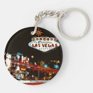 ¡Dé la bienvenida a Las Vegas al bebé! Llavero Redondo Acrílico A Doble Cara