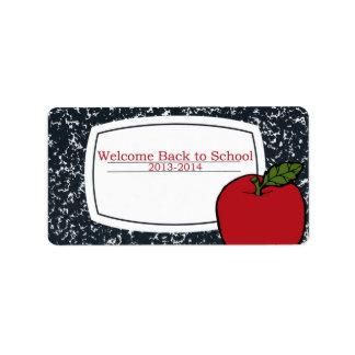 Dé la bienvenida de nuevo a etiqueta de la escuela etiquetas de dirección