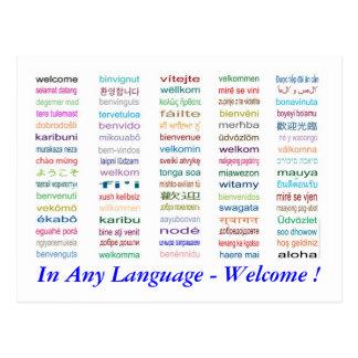 Dé la bienvenida en postal de 80 idiomas