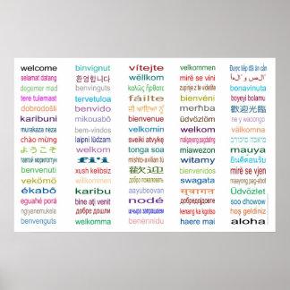Dé la bienvenida en poster de 80 idiomas