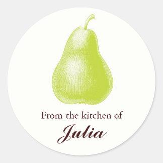 De la cocina de etiquetas culinarias pegatina redonda