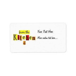 De la cocina de etiquetas de enlatado de encargo r etiquetas de dirección