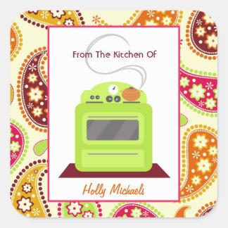 De la cocina… de la estufa y de Paisley verdes Pegatina Cuadrada