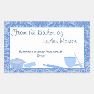 De la cocina de la etiqueta del regalo en azules