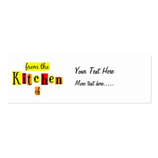 De la cocina de la etiqueta flaca de encargo retra tarjeta de negocio