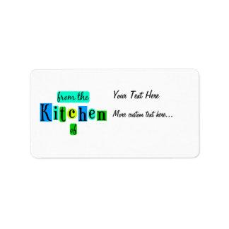 De la cocina de la etiqueta retra de la receta del etiqueta de dirección