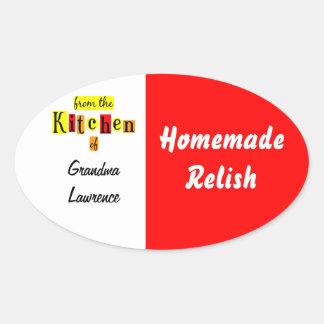 De la cocina de la receta amarilla roja retra colcomanias óval personalizadas