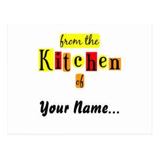 De la cocina de la tarjeta retra de la receta de l postales
