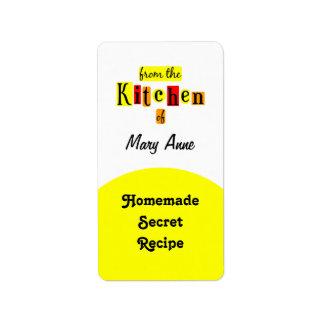 De la cocina de las etiquetas de enlatado del etiquetas de dirección