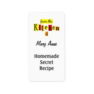 De la cocina de las etiquetas de enlatado del pers etiqueta de dirección