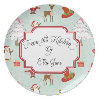 De la cocina de las placas del navidad plato