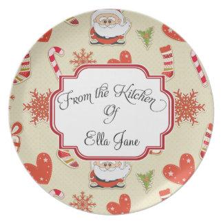 De la cocina de las placas del navidad platos de comidas