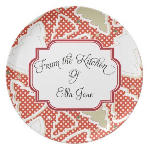 De la cocina de las placas manchadas del navidad plato