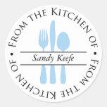 De la cocina - de los cubiertos pegatinas redondas