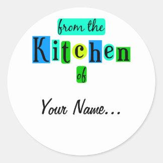 De la cocina de los pegatinas retros del verde azu