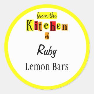De la cocina de pegatinas de encargo amarillos ret
