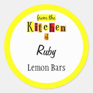 De la cocina de pegatinas de encargo amarillos roj