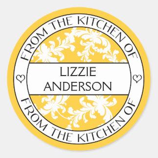 De la cocina del damasco blanco amarillo de la pegatina redonda