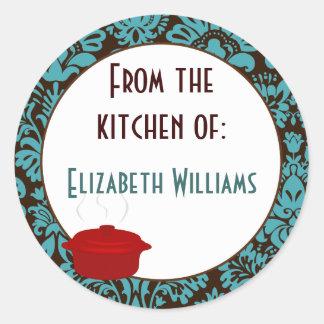 De la cocina del damasco de Brown del trullo Pegatinas Redondas