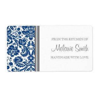 De la cocina del damasco del azul de las etiquetas etiquetas de envío