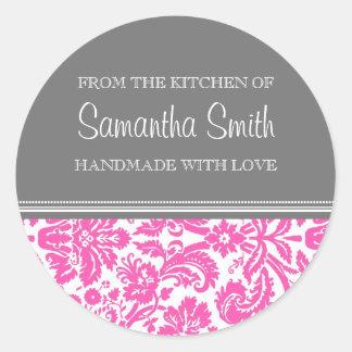 De la cocina del damasco del rosa del pegatina