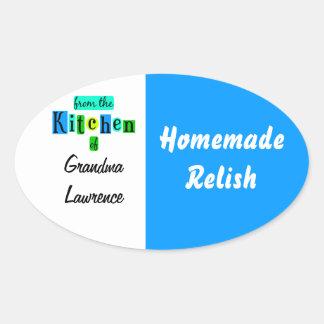 De la cocina del enlatado retro del verde azul pegatina de óval