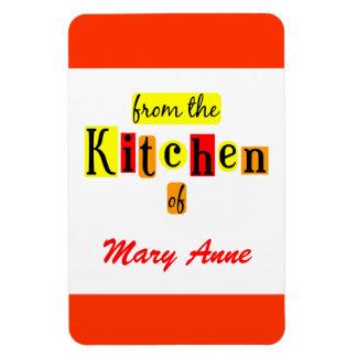De la cocina del imán rojo retro de encargo del re