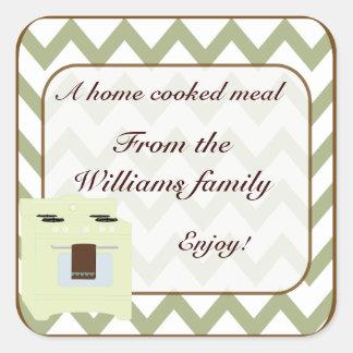 De la cocina del pequeño verde/de Brown de Chevron Pegatina Cuadrada