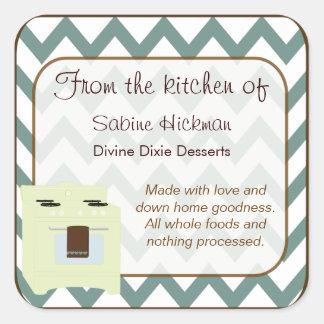 De la cocina del pequeños azul Brown de Chevron Calcomanía Cuadradas Personalizada