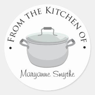 De la cocina - del pote común pegatina redonda
