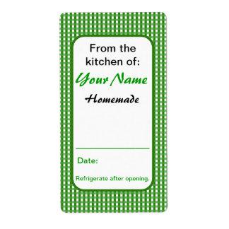 De la cocina del verde de enlatado de las etiqueta etiquetas de envío