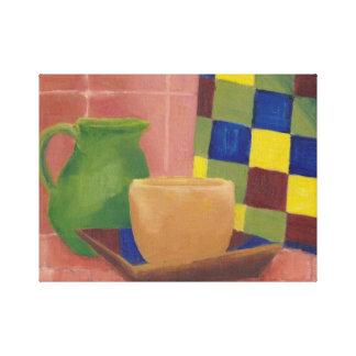 De la cocina todavía de la decoración amarillo ori lienzo envuelto para galerias