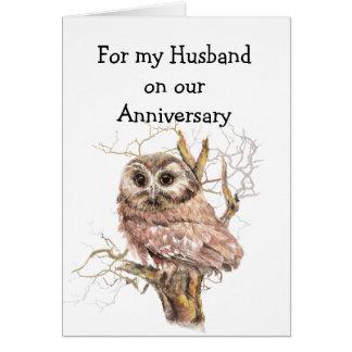 De la diversión del aniversario del búho amor de tarjeta de felicitación