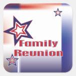 De la estrella blanca de la reunión de familia pegatina cuadrada
