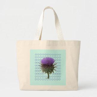 ♥ de la floración de la alcachofa bolsa tela grande