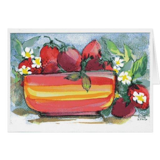 De la fresa todavía de las técnicas mixtas vida tarjeta de felicitación