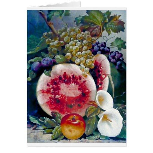De la fruta de la sandía de la uva todavía de Appl Tarjeta De Felicitación