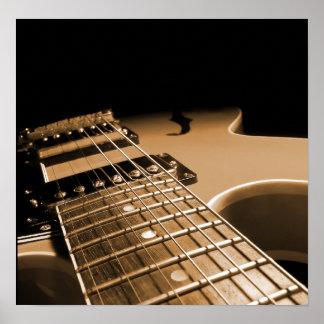 De la guitarra del cierre naranja picante eléctric póster